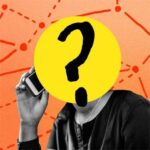 A person making a phone call with a question mark superimposed over their face, with a network grid hovering behind the figure.