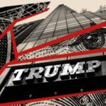 Trump Tower fractured by US currency.