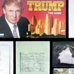 Trump board game, Mar-a-Lago receipt, recreation of papers hand shredded by Trump in a plastic bag.