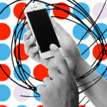 A hand holds a smartphone over a background of red, blue and violet circles.