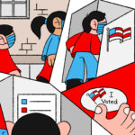 An illustration of people in red and blue clothing voting. The composition is fractured into five sections.