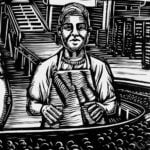 A black-and-white illustration of a factory scene. A teenage worker stands at a conveyor belt, surrounded by adult workers.