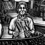 Ilustración en blanco y negro de una escena de fábrica. Un obrero adolescente delante de una cinta transportadora rodeado de obreros adultos.