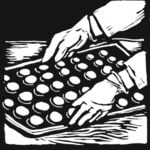 A black-and-white illustration of three factory scenes. Each scene shows a pair of hands at work. Left: scrubbing metal; middle: carrying a tray of candy; right: packaging meat.