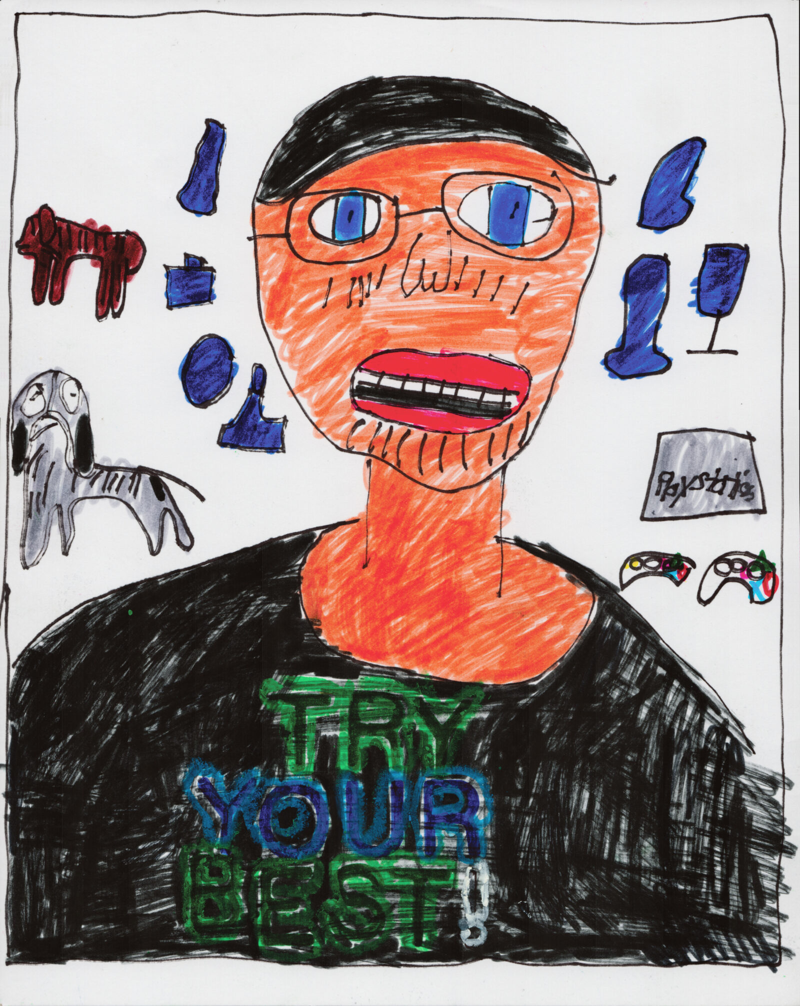 A drawing of a man with blue eyes and glasses. There are dogs and a Playstation behind him.