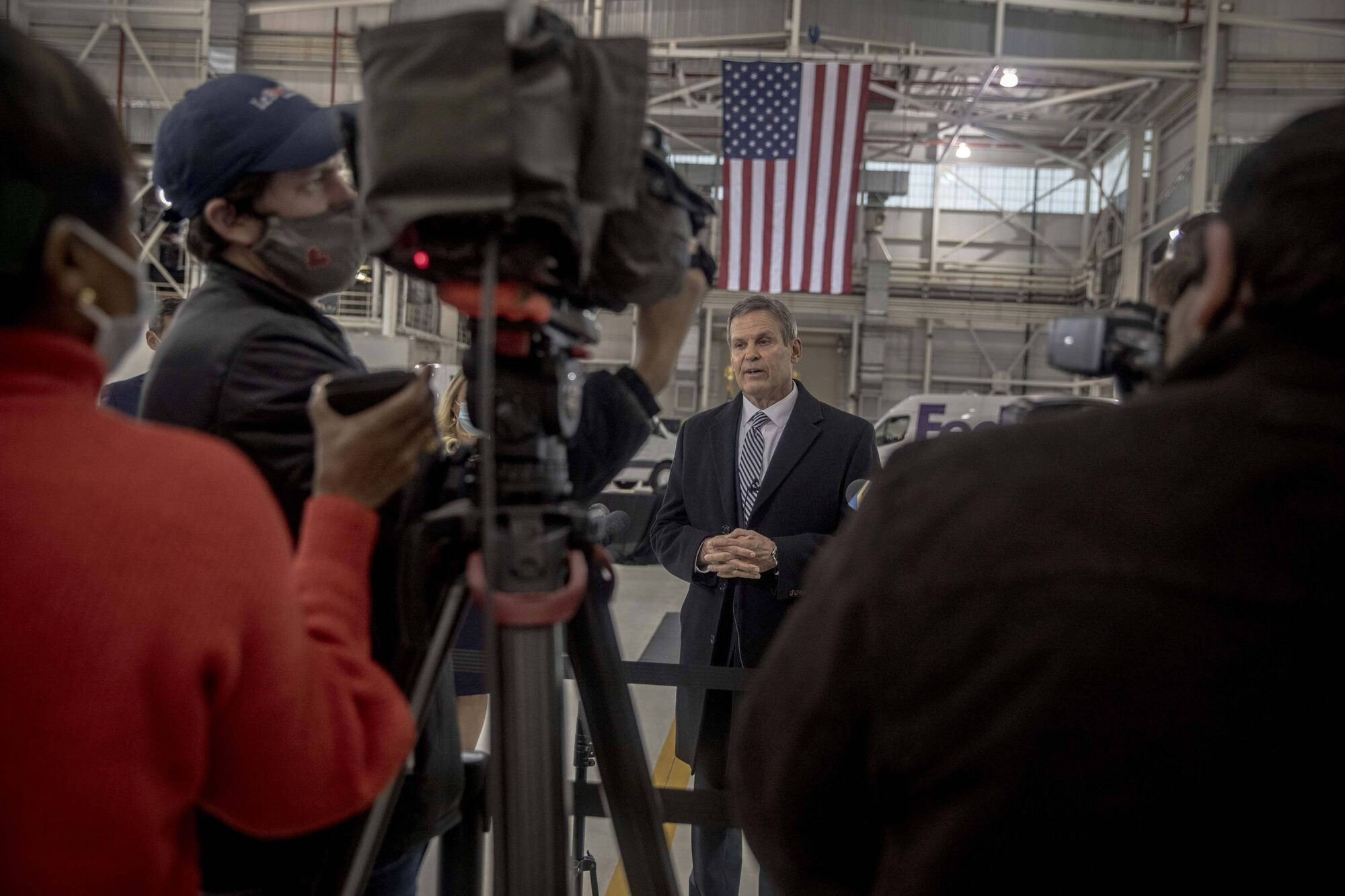 Tennessee Gov. Bill Lee speaks to the media following a Dec. 3 roundtable discussion about vaccine distribution that included FedEx executives, Vice President Mike Pence and health officials.