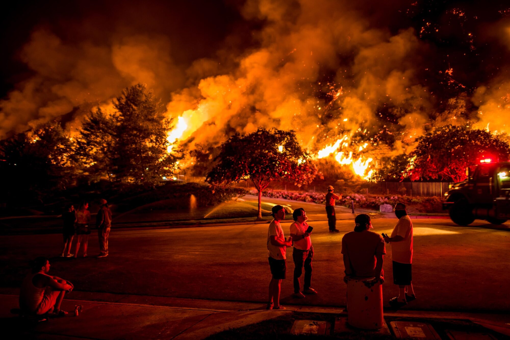 Residents of Azusa watching the Ranch 2 Fire.