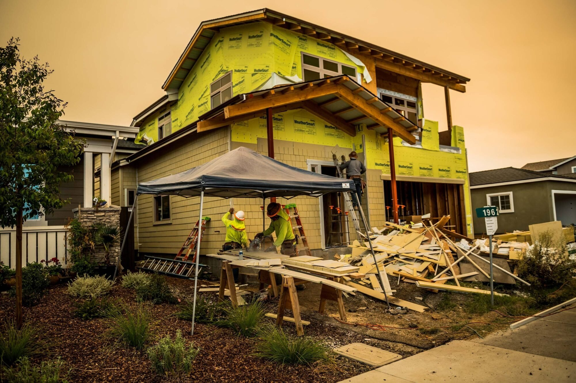Homes being rebuilt near Coffey Park, the California community that was ravaged during the Tubbs Fire in Santa Rosa.