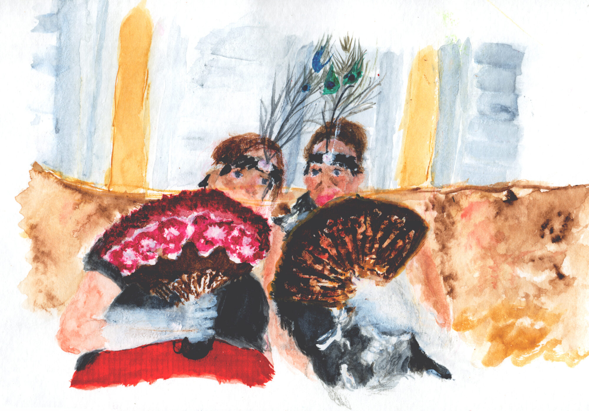 An illustration of two women sitting on a couch, wearing white gloves, feathered headbands and holding intricately-patterned fans.