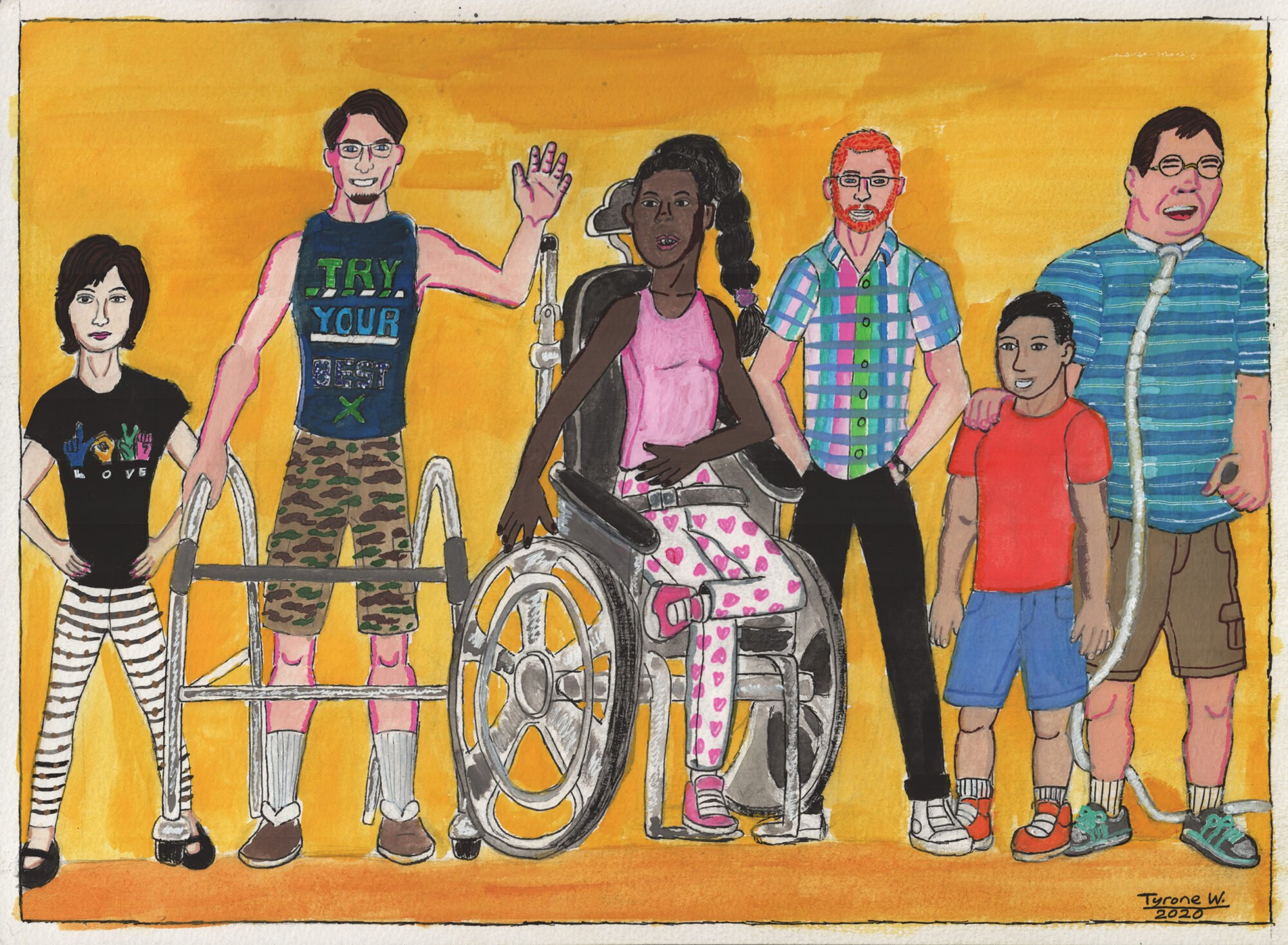 An illustration of seven people of varying ages, races and abilities, together against an orange background.