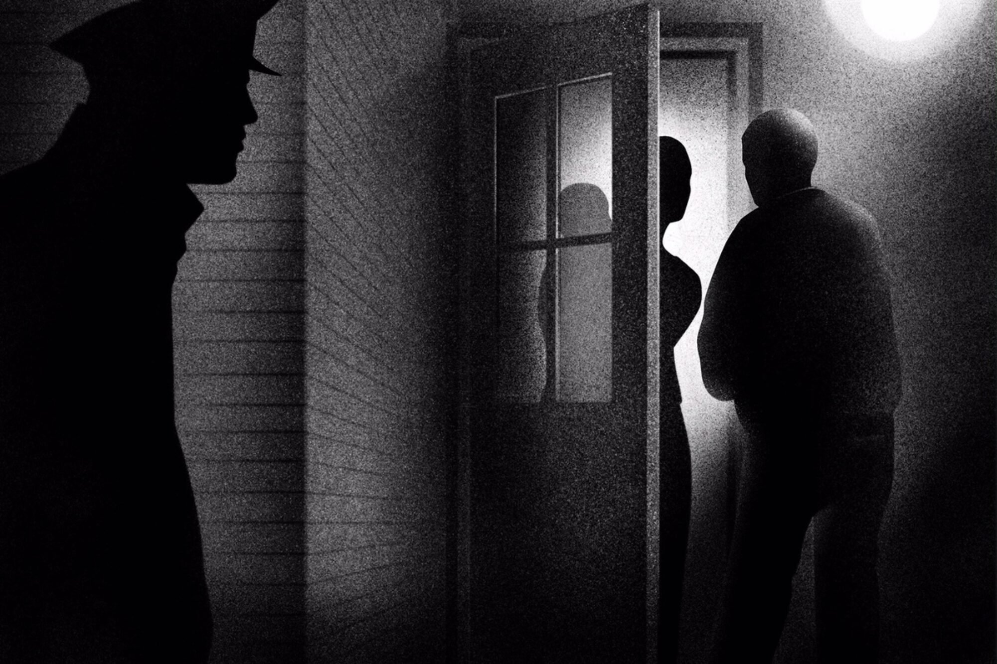 A black-and-white illustration of a police officer viewing two people talking outside of a house.