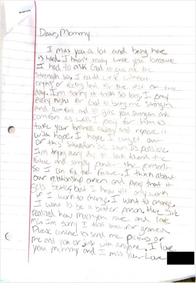 Handwritten letter from Grace to her mother while detained.