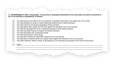Incorrigibility checklist.