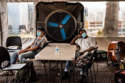 Senior citizens at a cooling center in Phoenix last month during Arizona's record-setting heat wave.