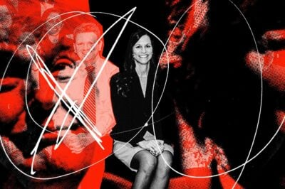 A red and black photo illustration of Debbie Chacona flanked by Donald Trump's face.