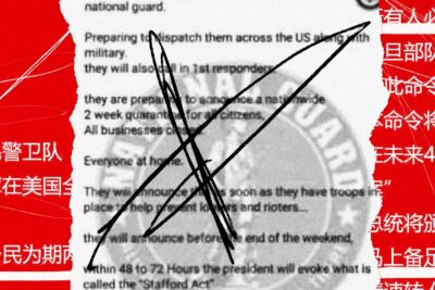 Photo collage of misinformation about the National Guard disseminated over WeChat.