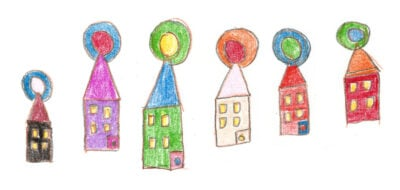 Section break. A hand-drawn illustration of a row of colorful houses.