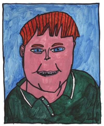 A hand-painted portrait of a man wearing a green button-down shirt, with red hair and blue eyes, sitting against a blue background.