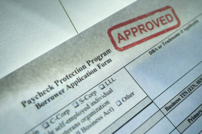 A stock photo of the Paycheck Protection Program application form.