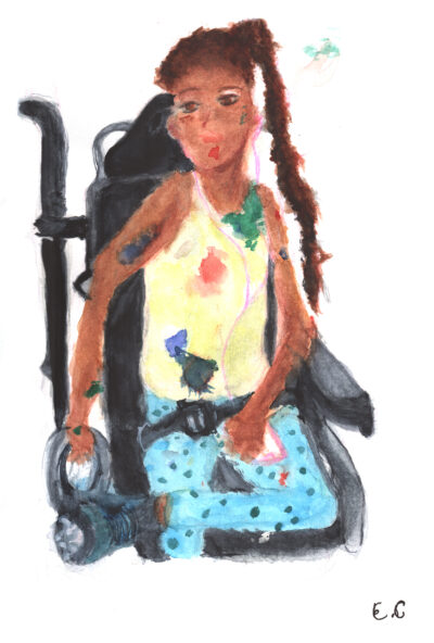 A painting of a girl with a long brown ponytail, yellow tank top, and blue polk-dot pants sitting cross-legged in a wheelchair.