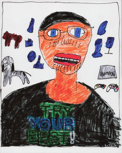 A hand-drawn illustration of a man with blue eyes and glasses, surrounded by dogs and Playstation consoles.