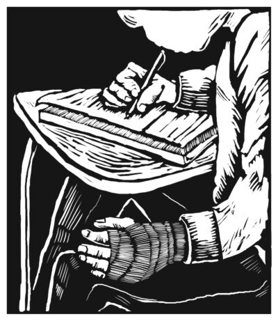 A black-and-white illustration of a student writing at a classroom desk, a bandaged hand resting on his lap.