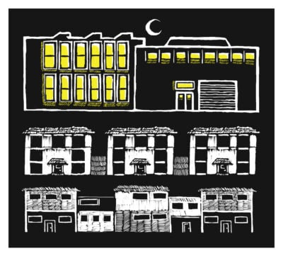A black-and-white illustration of a factory at night, the windows lit up against a black sky.