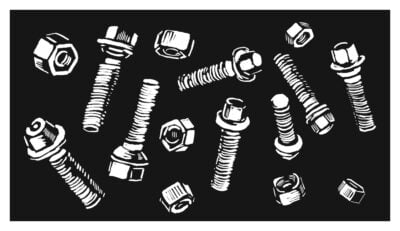 A black-and-white illustration of nuts and bolts.