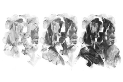 A series of three graphite portraits of a female judge.