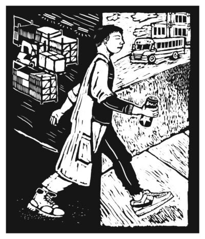 A black-and-white illustration of a teenager walking from a factory job at night to school in the morning. The composition is split in half: black background on the left, white background on the right.