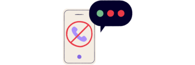 An illustration of a white smart phone unable to reach a caller.