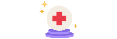 An illustration of a crystal ball with a red cross in the center.