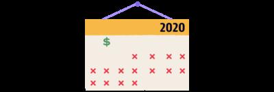An illustration of a 2020 calendar.