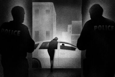 A black-and-white illustration of two police officers watching a woman lean against a car door, talking to the driver.