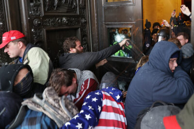 White alt-right terrorists and capitol rioters storm Capitol
