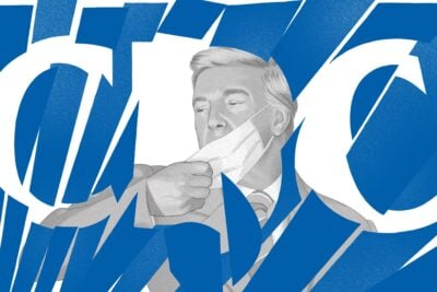 An illustration of President Donald Trump taking off his mask and shattering the logo for the Centers for Disease Control and Prevention.