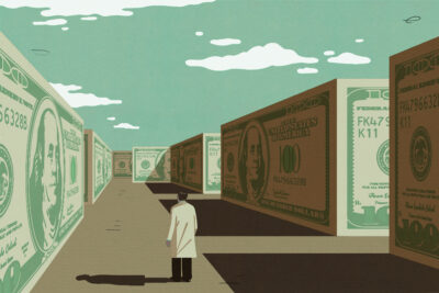An illustration of a doctor navigating a maze made of $100 dollar bills.