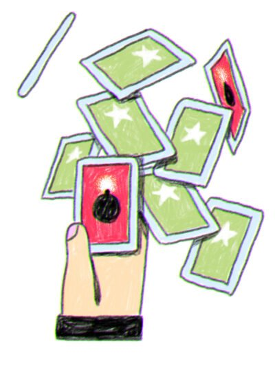 Hand surrounded by a flurry of cards, some green, and some ominously red.
